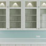 vaeghaengt vitrineskab med indbygget belysning 150x150